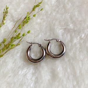 Chunky Hoop Earrings in dull silver, Fat hoop